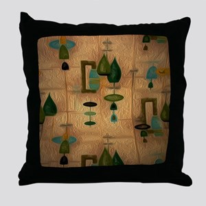 Atomic Age in Gold Throw Pillow